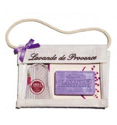 Set Cadou Poseta Iuta Sapun Marsilia 100g Lavanda Savoniera Ceramica si Saculet Flori Lavanda  Provence 18g Le Chatelard 1802