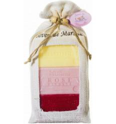 Set cadou sapun de Marsilia CAPRIFOI, TRANDAFIRI-BUJOR, FRUCTE ROSII