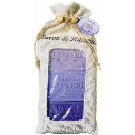 Set cadou sapunuri de Marsilia LAVANDA, VIOLETE, MURE