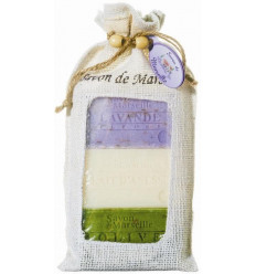 Set cadou sapunuri de Marsilia LAVANDA exfoliant, LAPTE de MAGARITA, MASLINE
