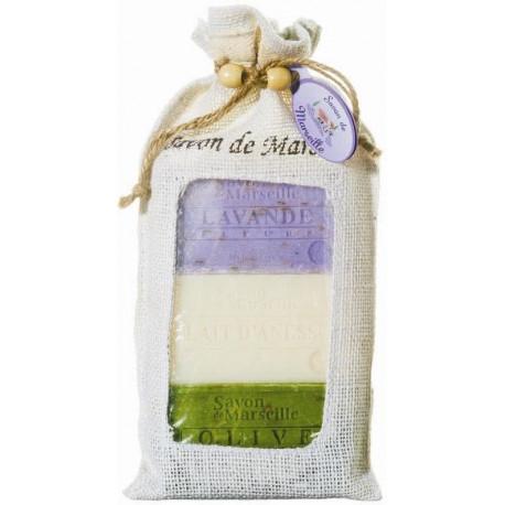 Set Cadou Iuta 3x Sapun Natural Marsilia Lavanda Exfoliant Lapte Magarita Masline Exfoliant Le Chatelard 1802