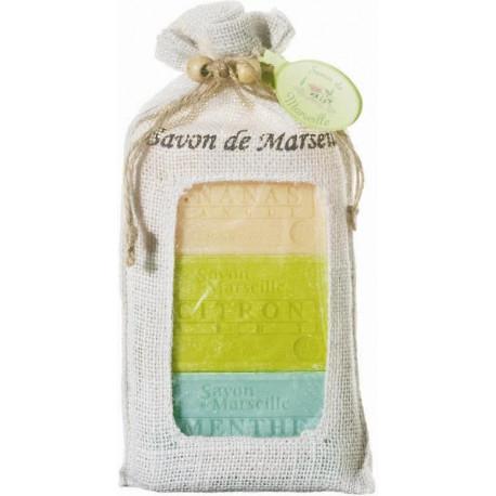 Set cadou sapun de Marsilia ANANAS-MANGO, LAMAIE VERDE, MENTA