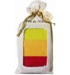 Set cadou sapunuri de Marsilia LAMAIE VERDE, PEPENE-PERE, ZMEURA-AFINE
