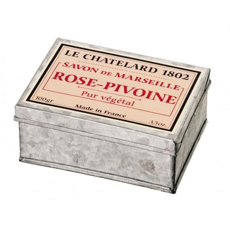 Sapun de Marsilia trandafir bujor in cutie galva