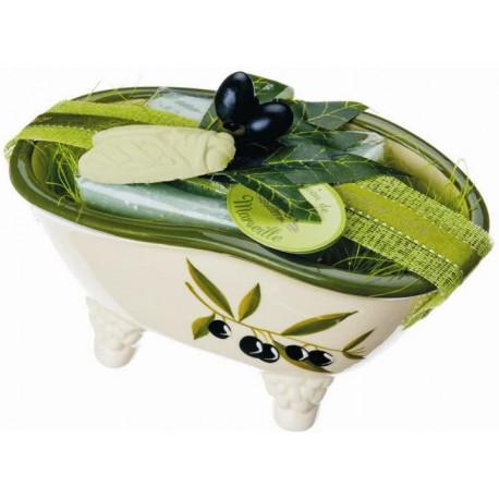 Set cadou savoniera forma cadita baie cu sapun Marsilia MASLINE, exfoliant