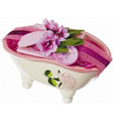 Set cadou savoniera forma cadita baie cu sapun de Marsilia TRANDAFIRI