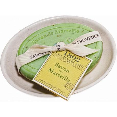 xxSet Cadou Savoniera Sapun Natural Marsilia Oval 100g Exfoliant Masline Olives Le Chatelard 1802