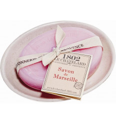 Set cadou savoniera cu sapun de Marsilia TRANDAFIRI-BUJOR