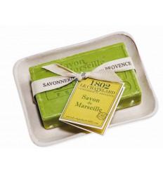 Set cadou savoniera cu sapun de Marsilia MASLINE exfoliant