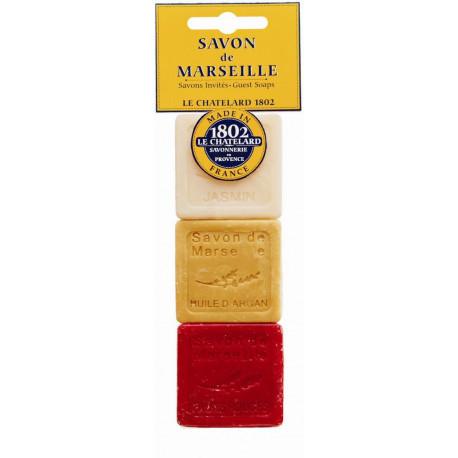 Set cadou sapunuri de Marsilia IASOMIE, ULEI de ARGAN, FRUCTE ROSII, voiaj