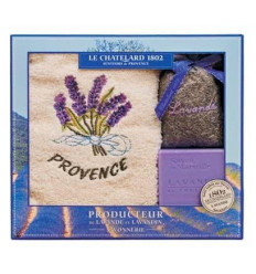 Set Cadou Sapun Marsilia Lavanda 100g Flori Lavanda Naturala de Provence si Prosop Brodat Le Chatelard 1802