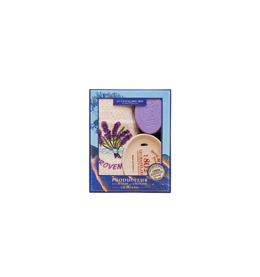 Set Cadou Sapun Marsilia Lavanda 100g Savoniera Ceramica Pictata Manual si Prosop Brodat Le Chatelard 1802