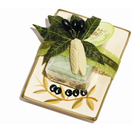 Set cadou savoniera ceramica si sapun de Marsilia MASLINE, exfoliant
