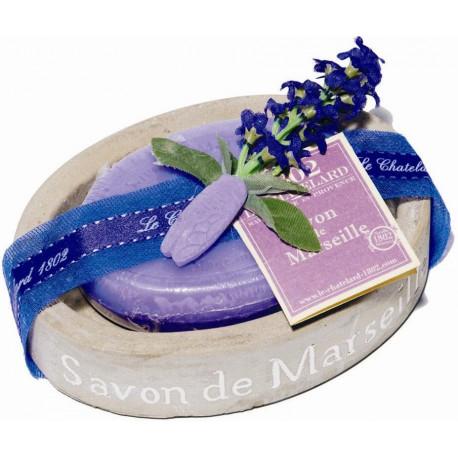 Set cadou savoniera cu sapun de Marsilia LAVANDA