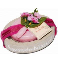 Set cadou savoniera cu sapun de Marsilia TRANDAFIR-BUJOR, oval