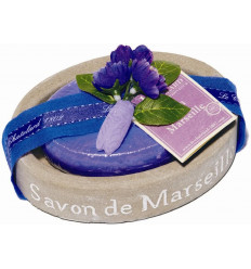 Set cadou savoniera cu sapun de Marsilia oval VIOLETE-MURE