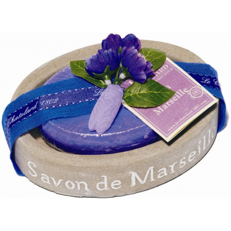Set Cadou Savoniera Sapun Natural Marsilia 100g Oval Violete Mure Le Chatelard 1802