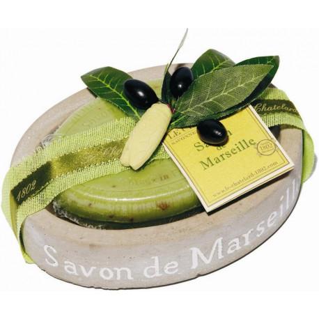 Set cadou savoniera cu sapun de Marsilia oval MASLINE
