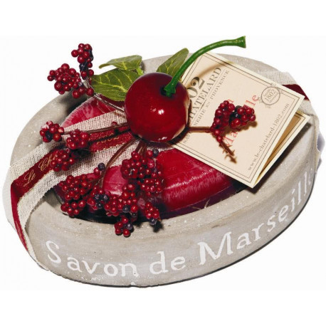 Set cadou savoniera cu sapun de Marsilia CIRESE