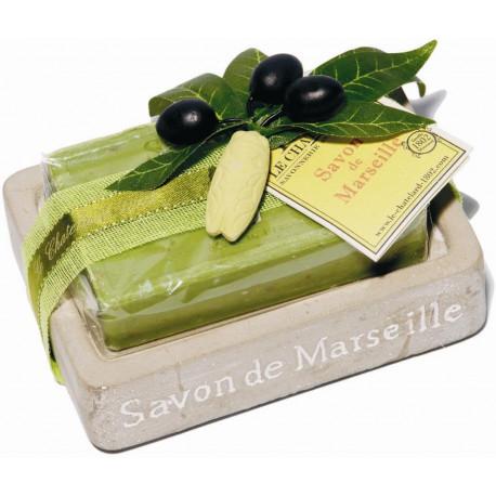 Set cadou savoniera cu sapun de Marsilia MASLINE, exfoliant