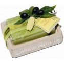 Set savoniera sapun Marsilia MASLINE, 100g exfoliant