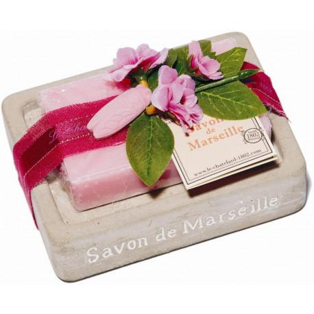 Set cadou savoniera cu sapun de Marsilia TRANDAFIR-BUJOR