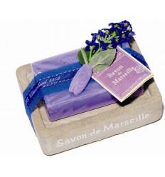Set cadou savoniera cu sapun Marsilia LAVANDA