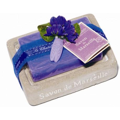 Set cadou savoniera cu sapun de Marsilia VIOLETE-MURE