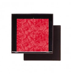 Set Cadou Lumanare Decorativa cu Suport Otel Inox Amabiente Kubus 16430 Red Rot Rosu