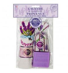 Set Cadou Sapun Natural Marsilia 100g Lavanda Saculet Flori Lavanda Naturala de Provence 18g Prosop Brodat Le Chatelard 1802