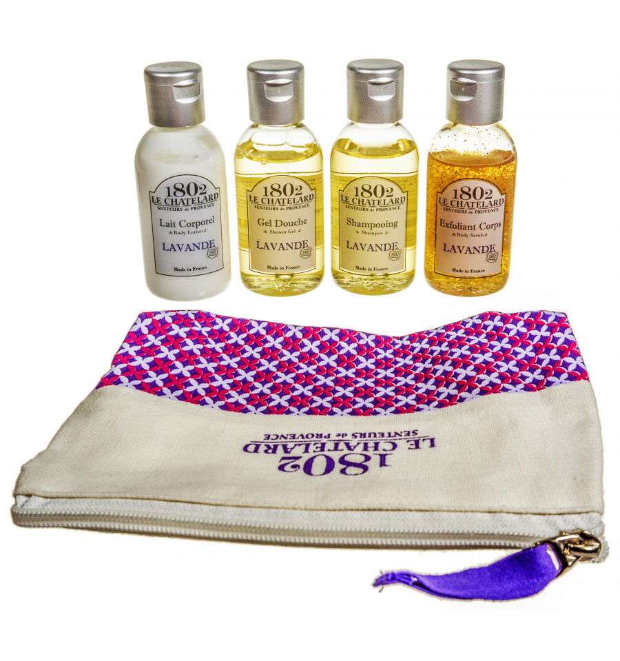 Set Cosmetice Voiaj 4 piese Lapte Corp 50ml Gel Dus 50ml Sampon 50ml Gomaj 50ml Le Chatelard 1802 Lavanda de Provence