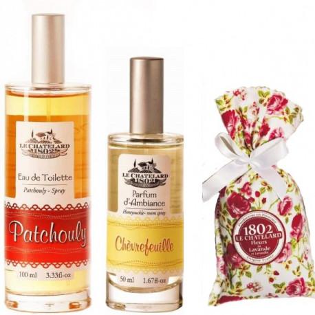 Pachet Apa de Toaleta Patchouly si Parfum Camera Caprifoi si Flori Lavanda Le Chatelard 1802