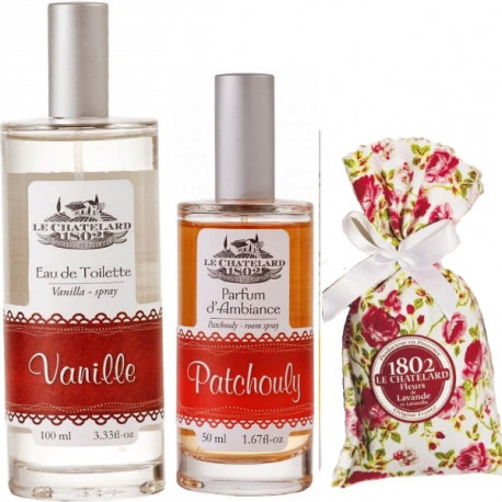 Pachet Apa de Toaleta Vanilie si Parfum Camera Patchouli si Flori Lavanda Le Chatelard 1802