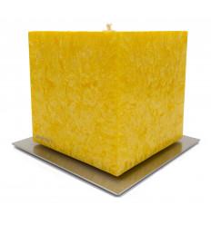 Set Cadou Lumanare Decorativa cu Suport Otel Inox Amabiente Kubus 16427 Yellow Giallo