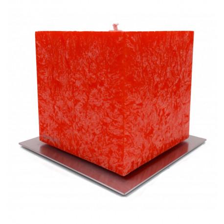 Set Cadou Lumanare Decorativa cu Suport Otel Inox Amabiente Kubus 16430 Rosu