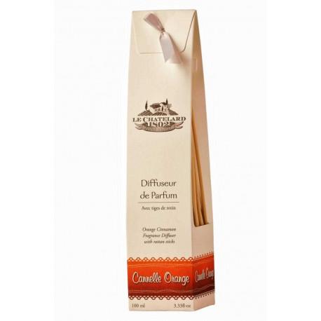 Difuzor parfum camera cu bete ratan 100ml scortisoara-portocala Le Chatelard 1802